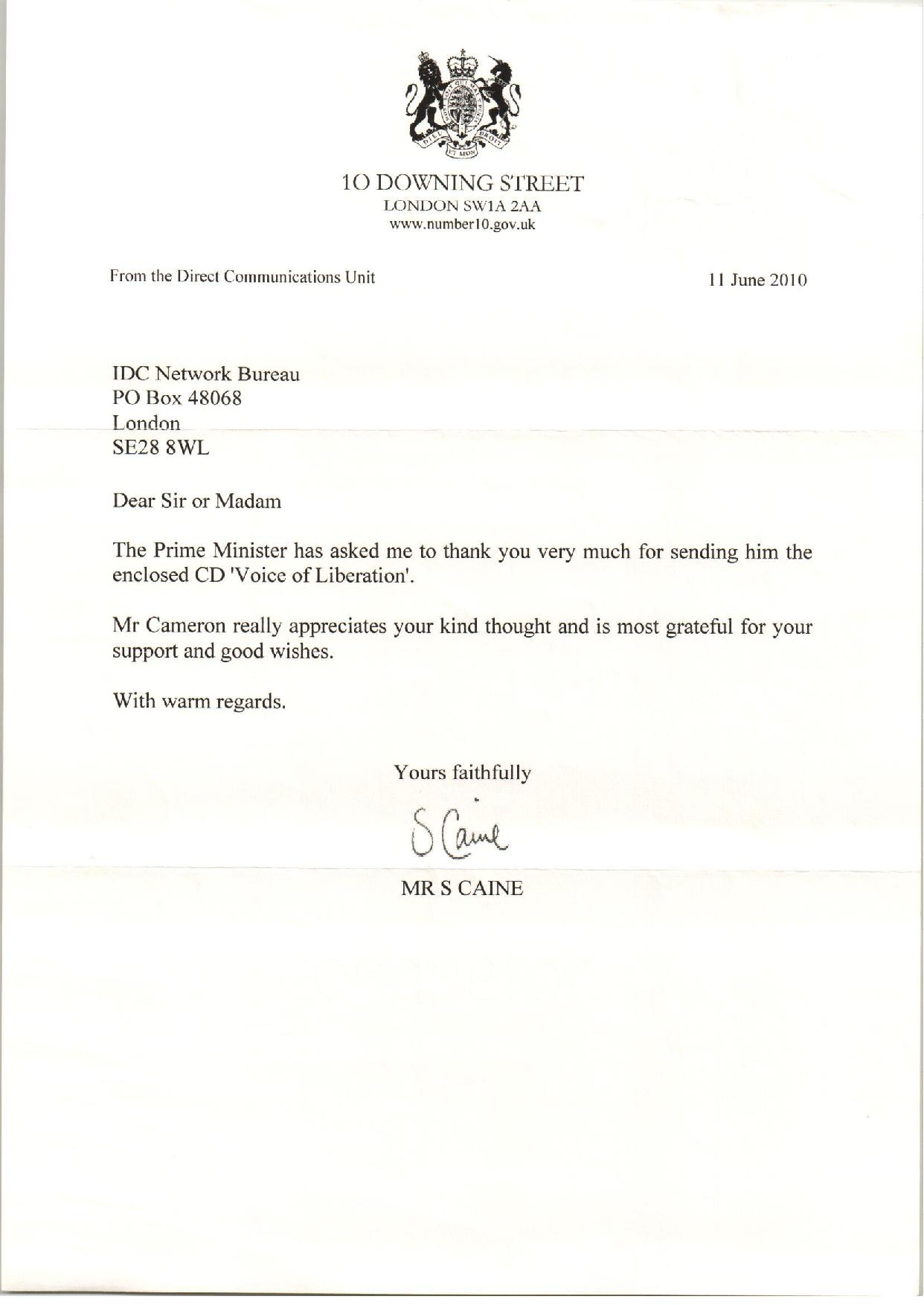 Prime Minister David Cameron Support Acknowledgement For Commonwealth Informative CD Voice of Liberation-page-001